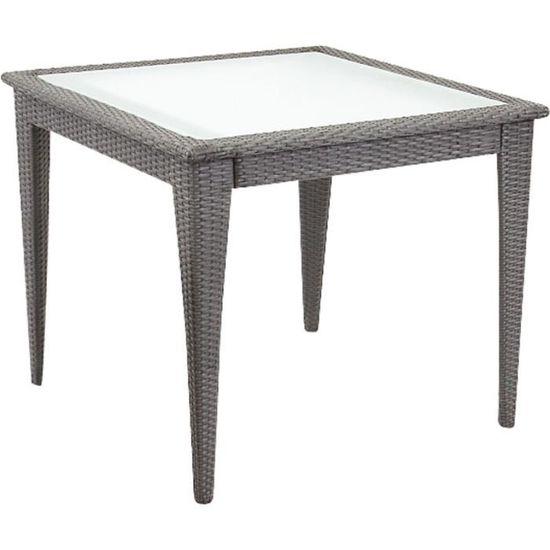 Table de jardin carrée en polyrésine et verre Noir