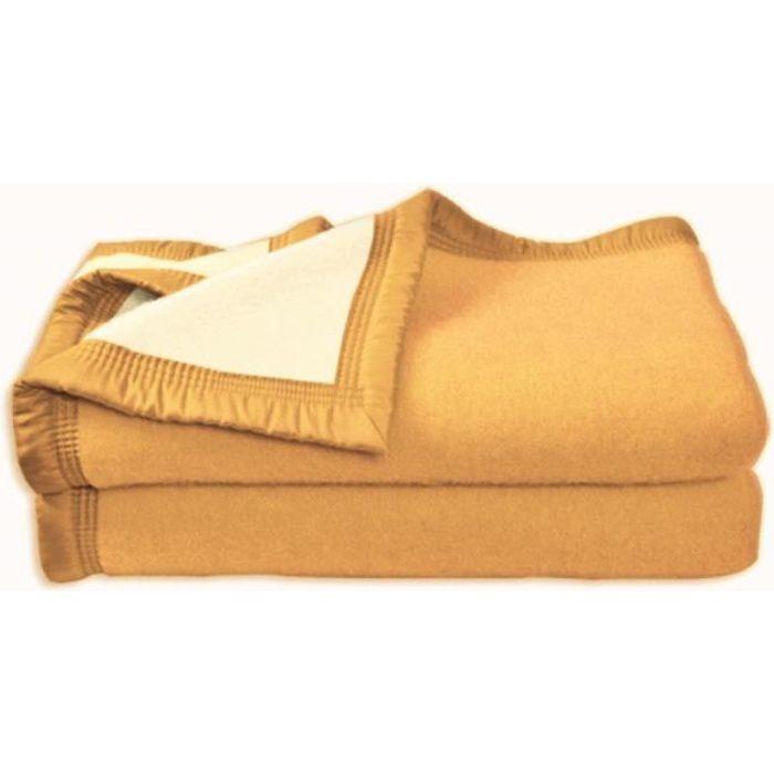 Couverture aubisque en laine woolmark 240x260 cm maïs et champagne