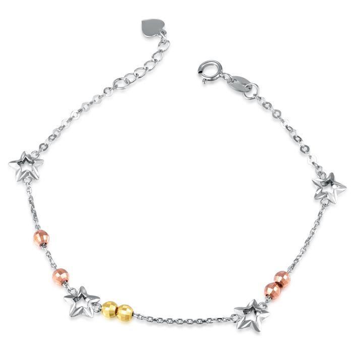 MaBelle étoiles perles 14ct 3 doré 585-1000 Bracelet (16,5 cm) Bijoux Cadeau pour Femme Fille