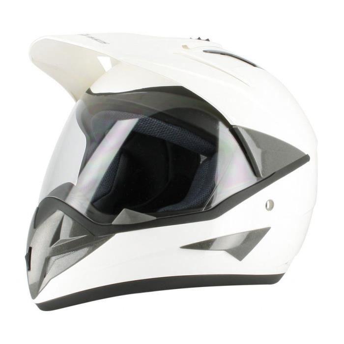 CASQUE MOTO SCOOTER Casque  Blanc L moto enduro