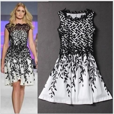 XXL-Les feuilles de style élégant robe soluble dans leau, de la dentelle est imprimé.