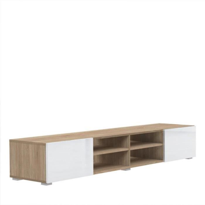 atlantic meuble tv couleur blanc et ch ne bard achat vente meuble tv atlantic meuble tv. Black Bedroom Furniture Sets. Home Design Ideas
