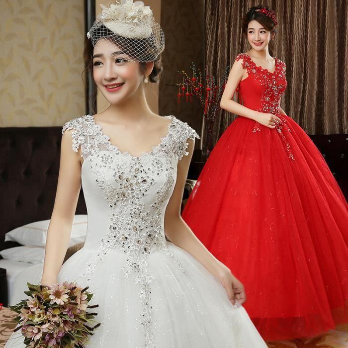 De Rouge Coréen Robe Queue Mariée Blanc rouge La 5pTZxwqB