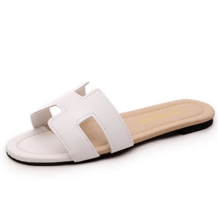 2016 nouveaux Mme simples dérapant sandales plates, étudiant d'été sandales romaines sandales clip orteil et pantoufles