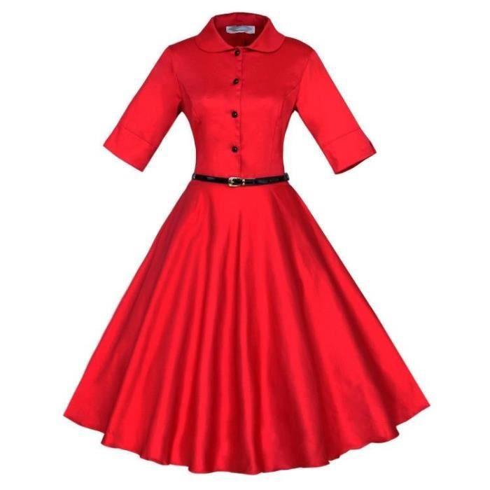 SIMPLE FLAVOR Robe Femmes Solide élégant Mode Retro Mince
