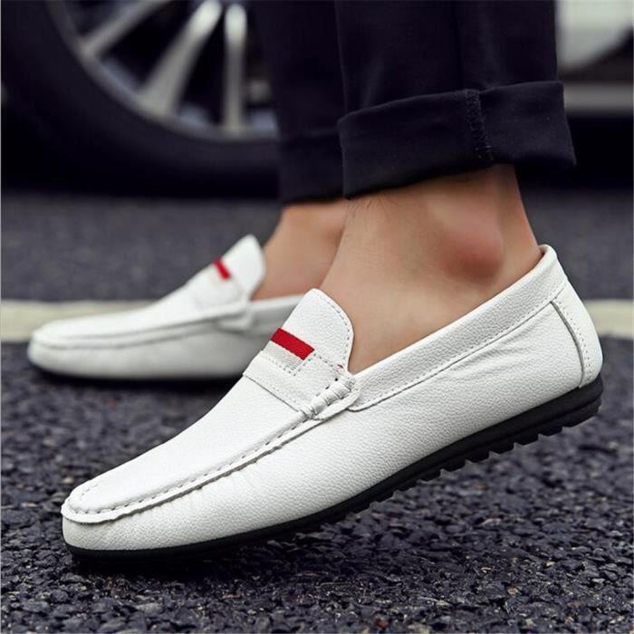 Respirant arrivee Durable Chaussure Grande Moccasin qualité 39 Confortable Nouvelle 44 Taille Cuir Moccasins En yzx084 Haut Homme 1wqxzU
