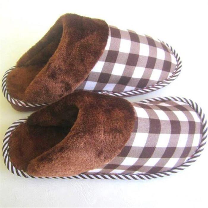 chaussons hommes Confortable Velours et pantoufle homme hiver intérieur chausson homme hiver chaud maison Nouvelle arrivee,marron,43