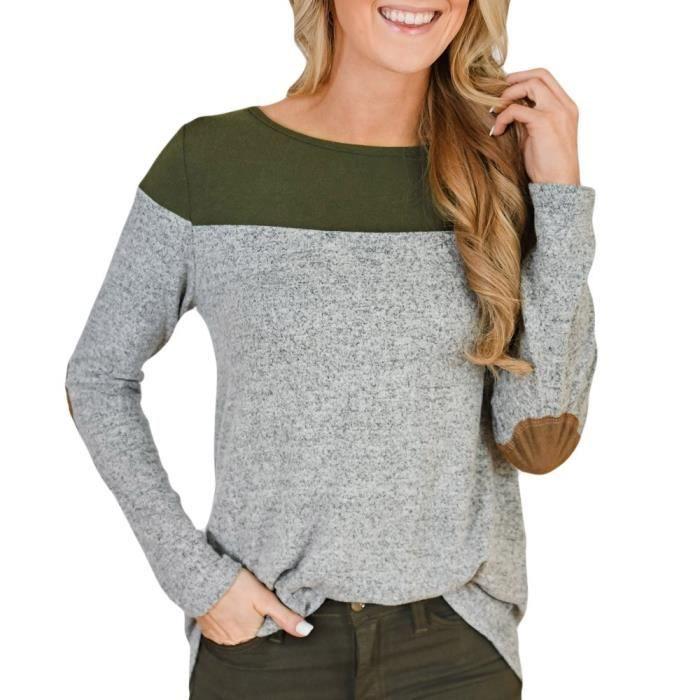 c4348c72614c5 la mode, belle T-shirt de la femme à manches longues couleur Bloque Bouton  irréguliers Hem Blouses Tops vert