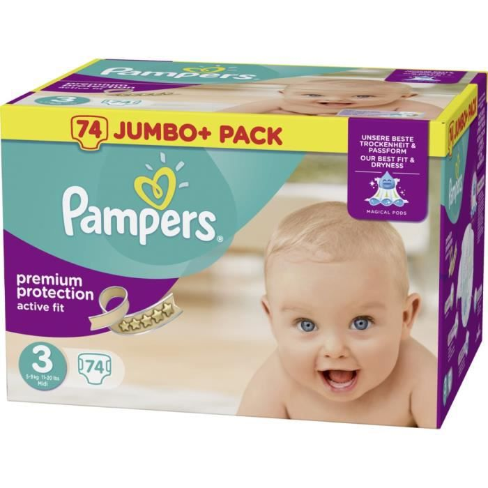 Pampers Active Fit Taille 3 Midi 5 9kg Jumbo Plus Pack 74