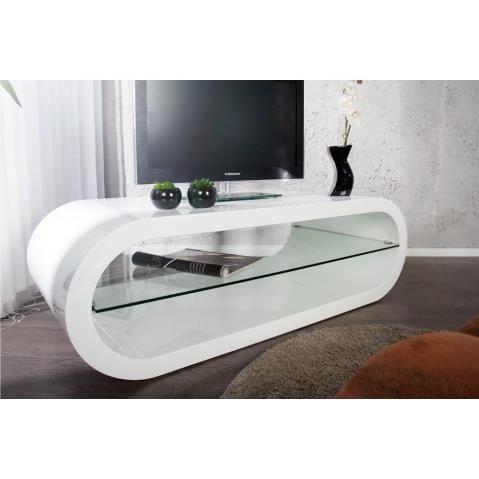 Meuble tv design blanc laque avec plateau verre bowl for Meuble tv moderne pas cher