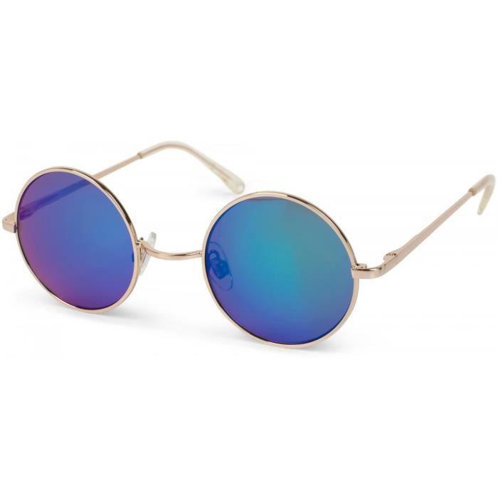 lunettes de soleil à verres ronds et structure fine en métal, branche avec charnière à ressort, unisexe 09020065