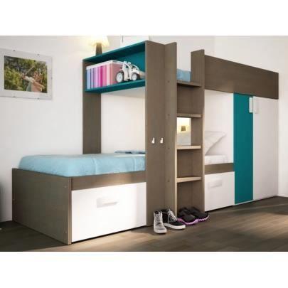 lits superposés julien - 2x90x190cm - armoire intégrée - taupe et
