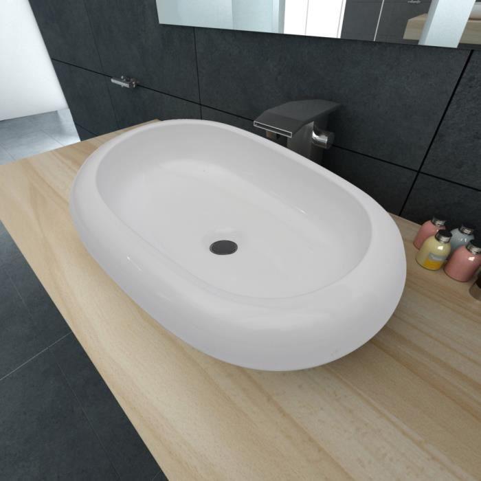 LAVABO - VASQUE vidaXL Luxueuse Vasque à poser en céramique Ovale