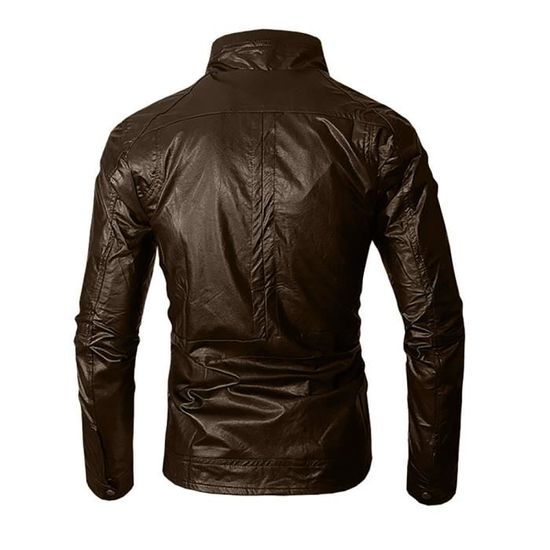Manches Mode Veste Automne Zipper Longue Casual Hauts Marron Manteau Hiver Cuir Homme BxUSngwqX