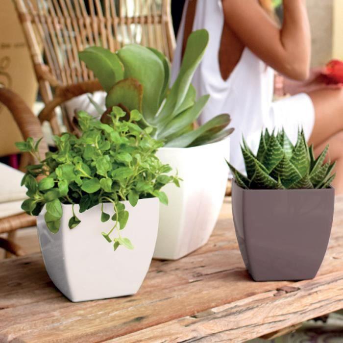 pot de fleur vase carr ext rieur blanc brillant. Black Bedroom Furniture Sets. Home Design Ideas
