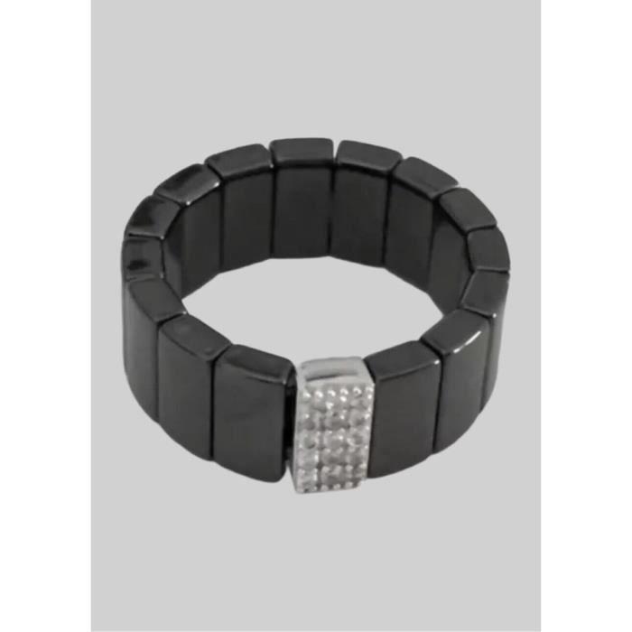 Bague Céramique Noir-Pavé Zirconium-Ajustable-Bijoux