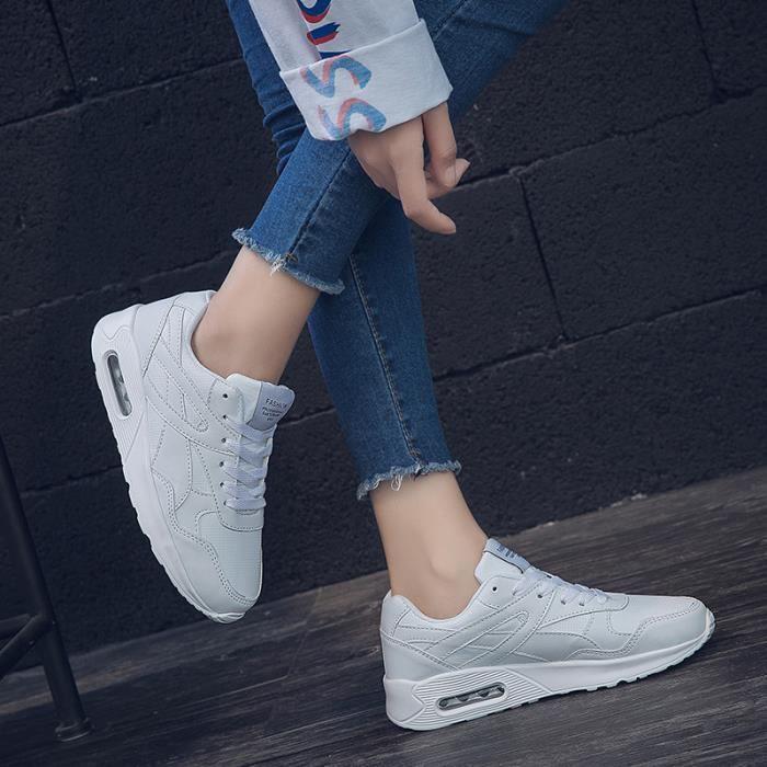 Respirant Course De Poids Baskets Blanc Femme Chaussures Léger W9DIE2H