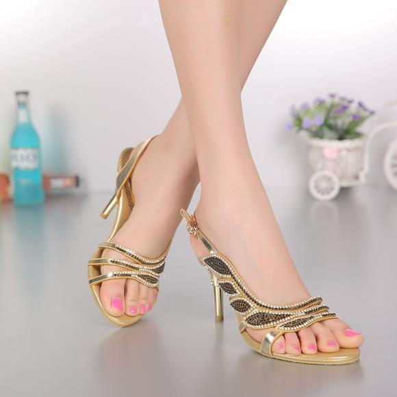 Nouveau bohême feuille d'or strass cloutés sangle cheville talons minces sandales, chaussures de mariage mariée