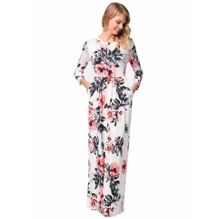 Womens Elegant Floral Print Summer Beach Long Maxi Dresses With Pockets 1BPUJ3 Taille-40