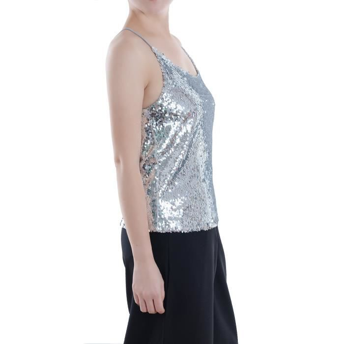 Taille Shimmer All Strap Spaghetti Women's Tank Over Vest Sequin Top Sparkle 42 3n6wc7 Pdxwq