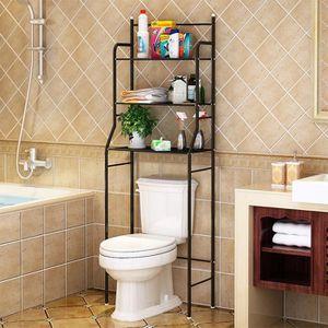 COLONNE - ARMOIRE WC MISS Meuble étagère pour dessus WC Noir en acier E