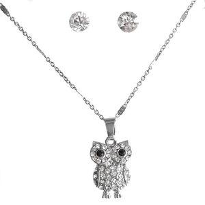 bb55b0f1b177 PARURE Parure bijoux femme hibou strass Couleur Argenté