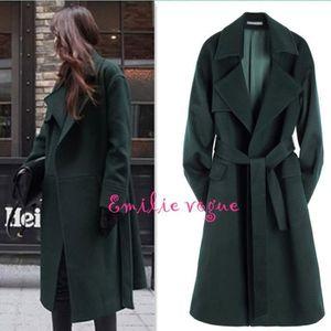79c0fcdb9f2f Manteau femme-veste-manteau de soirée longue de laine vouleur verte ...