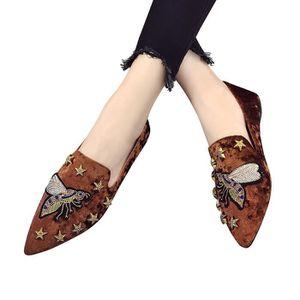 MOCASSIN Chaussures d'été Flats Ladies Bee broderie parkas
