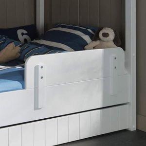 Lit enfant blanc avec barriere achat vente lit enfant blanc avec barriere pas cher cdiscount - Barriere de lit en bois blanc ...