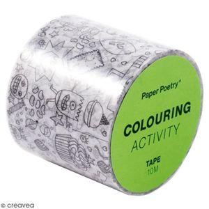 MASQUAGE - MASKING TAPE Masking Tape à colorier XL - Monstres - 4 cm x 10
