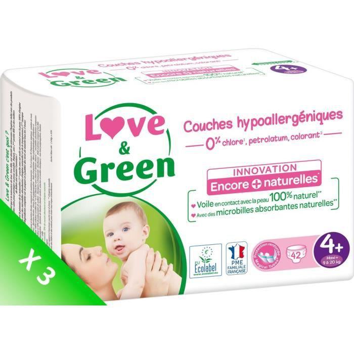 LOVE AND GREEN Couches écolabellisées T4+ - 126 couches - Eco Pack