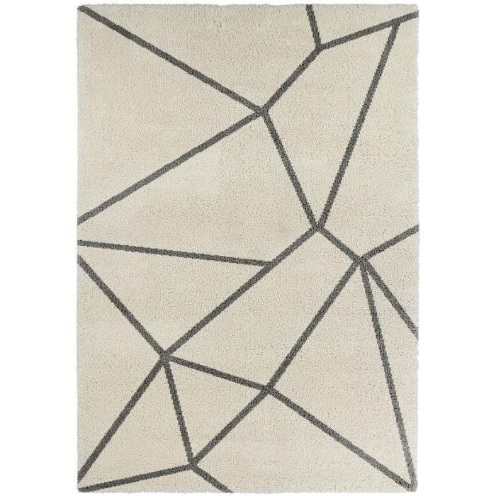 Continental tapis de salon laineux 160x230 cm crème et gris