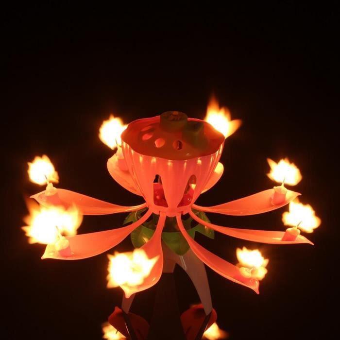 Bougie Danniversaire Fleur Lotus Musique Décoration Gâteau Fêterose