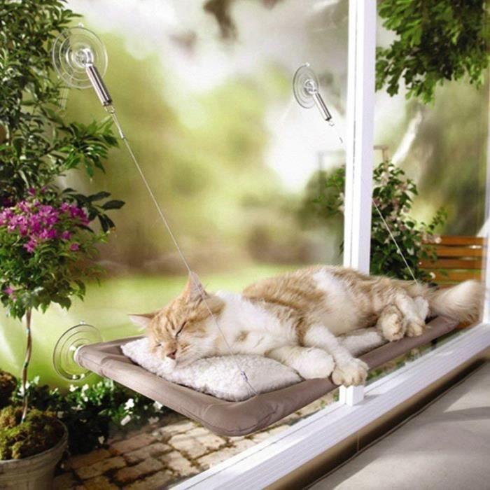 Lavable Hamac Pour Chat Siège Panier Lit Fenêtre Monté Ensoleillé Ventouse Chien Chiot Animal Couches, 55*34cm