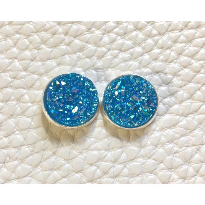 Femmes Blueberry Slush argent Druzy, Goujons pour 12mm Druzy bleu, bleu Boucles doreilles, Boucles doreilles, Druzy Bleu Dr BDZHZ