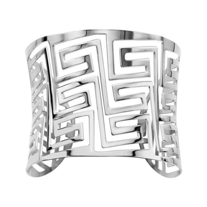 Bracelet Acier 316 L Manchette Motif Labyrinthe