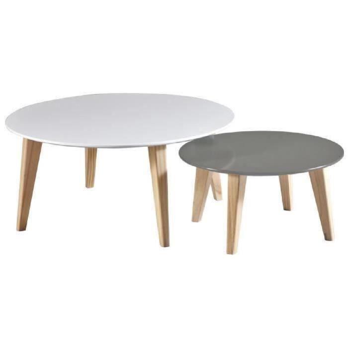 En 78 2 Tables Basses Pin De Set 55 TaupePieds L Cm Scandinave Blanc Round Et Bois f6gY7yIbv