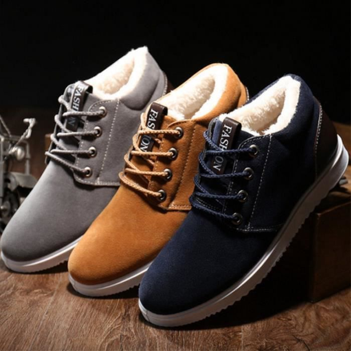 Nouvelle hiver taille plus élevé en plein air cachemire mâle épaissies bottes en dentelle et Bangmian Chaussures Hommes cachemire