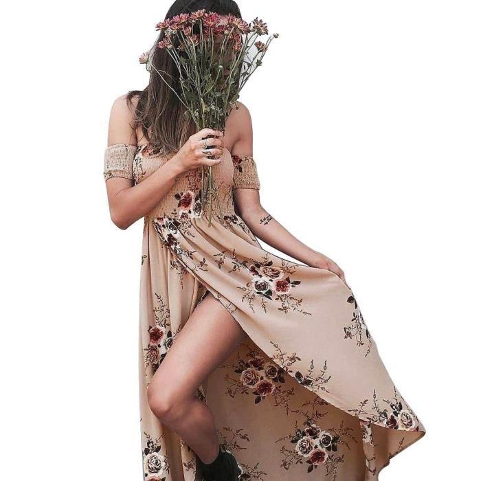 Femme Robe de plage Bohemia Longue Floral Ete Sexy Bas Irrégulière Plissée Style Epaule nu Col Beatou Rose