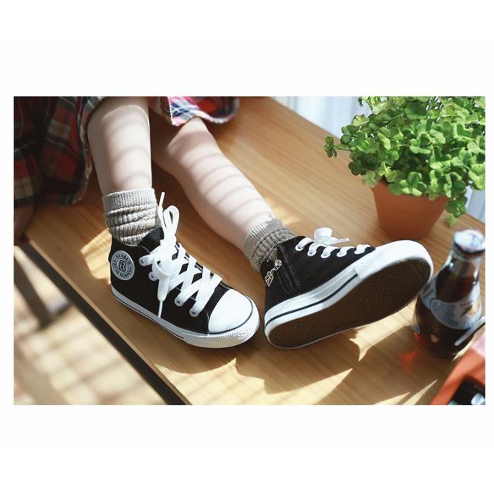 Enfants chaussures de toile Baskets à lacets garçon Filles chaussures plates de mode taille 25-37 cviUl9lwPu