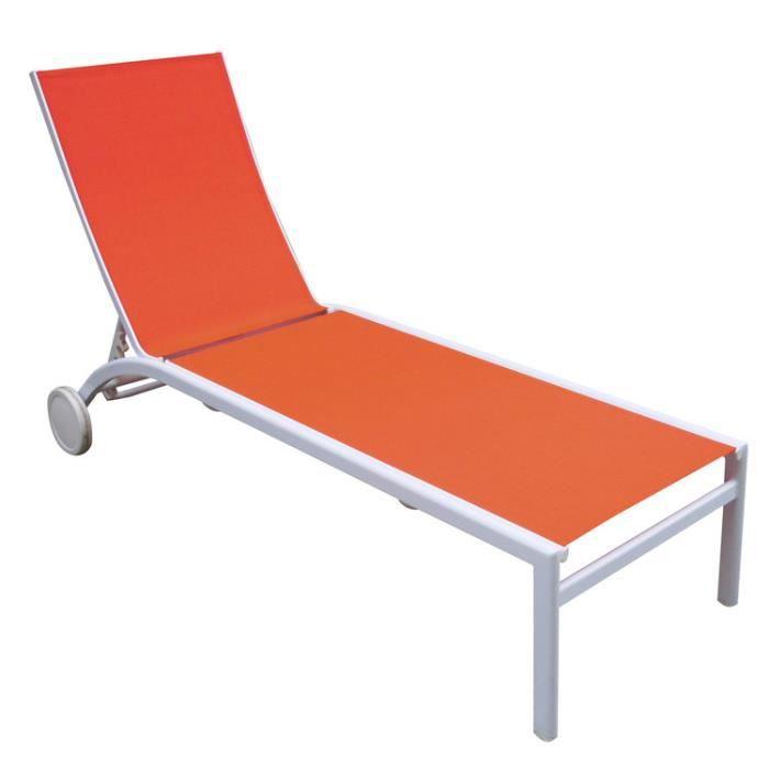 CHAISE LONGUE Bain de soleil multipositions corail SUNNY orange