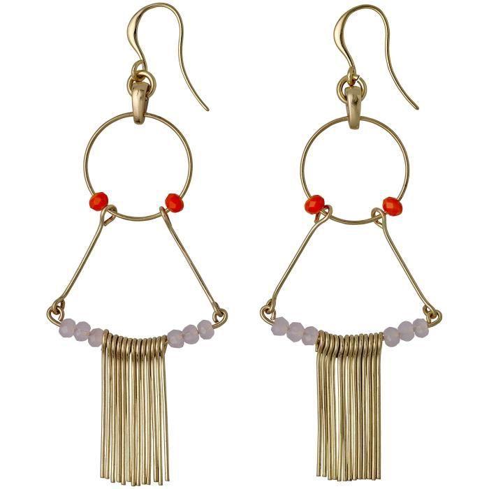 Pilgrim FemmePlaqué Or RondVert Rouge Perle Fashionearring SBIZU