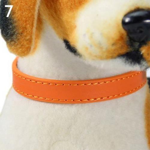 Mode Réglable En Simili Cuir Couleur Unie Chien Chat Chiot Sangle Collier Animal De Compagnie Orange M