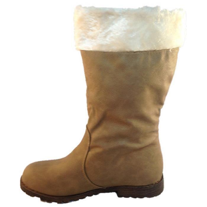 Fashionfolie888 - BOTTES FEMME BOTTINES FOURRÉES FOURRURE fille boots chaud pompons L10 TAUPE