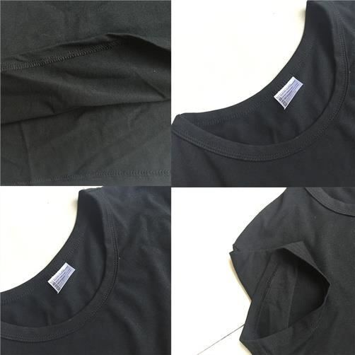 T Noir shirt Casual Fitibest Col Rond 7tCqxSw