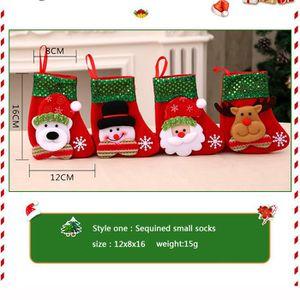 Calendrier de l'avent 4 pcs Bas de Noël Chaussette Père Noël Sac Cadeau