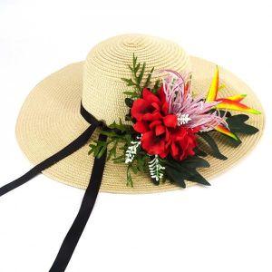 CHAPEAU - BOB Chapeau de paille blanc Fleurs rouge - Taille uniq 08d7a026ebc