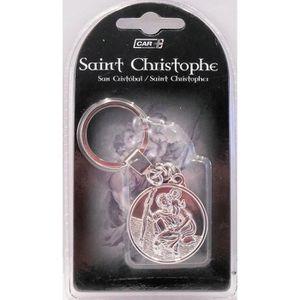 PORTE OBJET Porte clé, Saint Christophe rond métal chromé