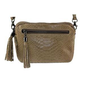 9da217fa8508f SAC À MAIN Petit sac cuir femme Pio Italie - Couleur Taupe