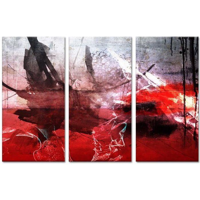 TABLEAU - TOILE Tableau Déco Triptyque Peinture Abstraite Tâches d